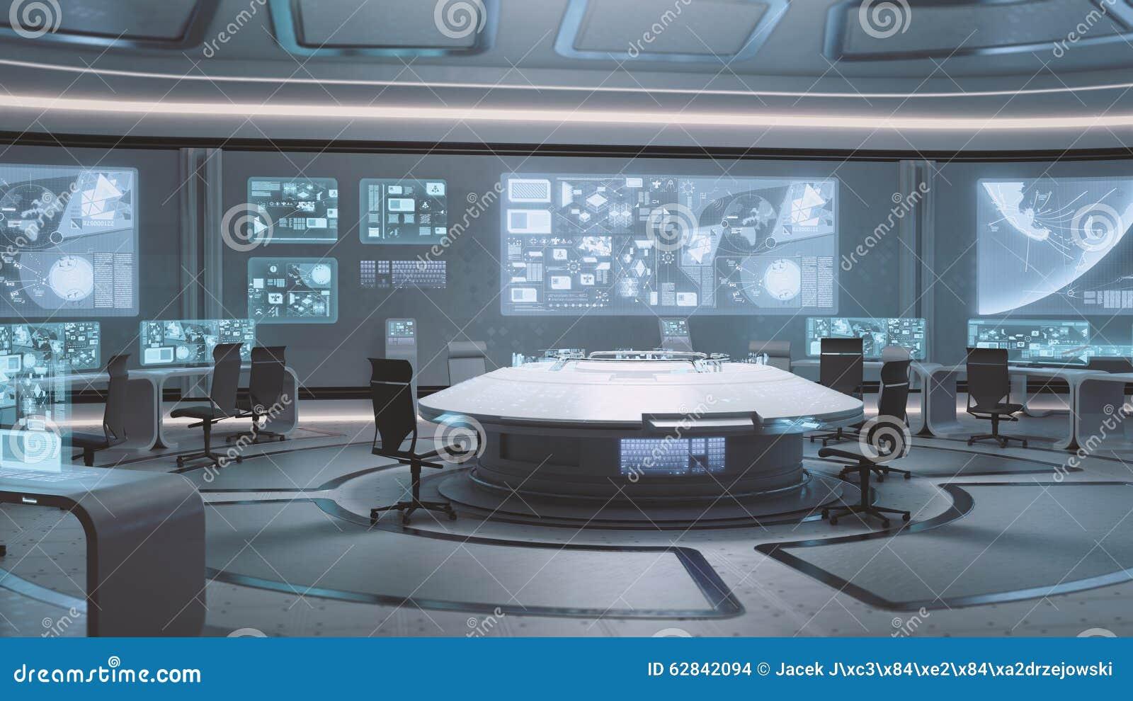 3D übertrug leerer, moderner, futuristischer Kommandozentraleinnenraum