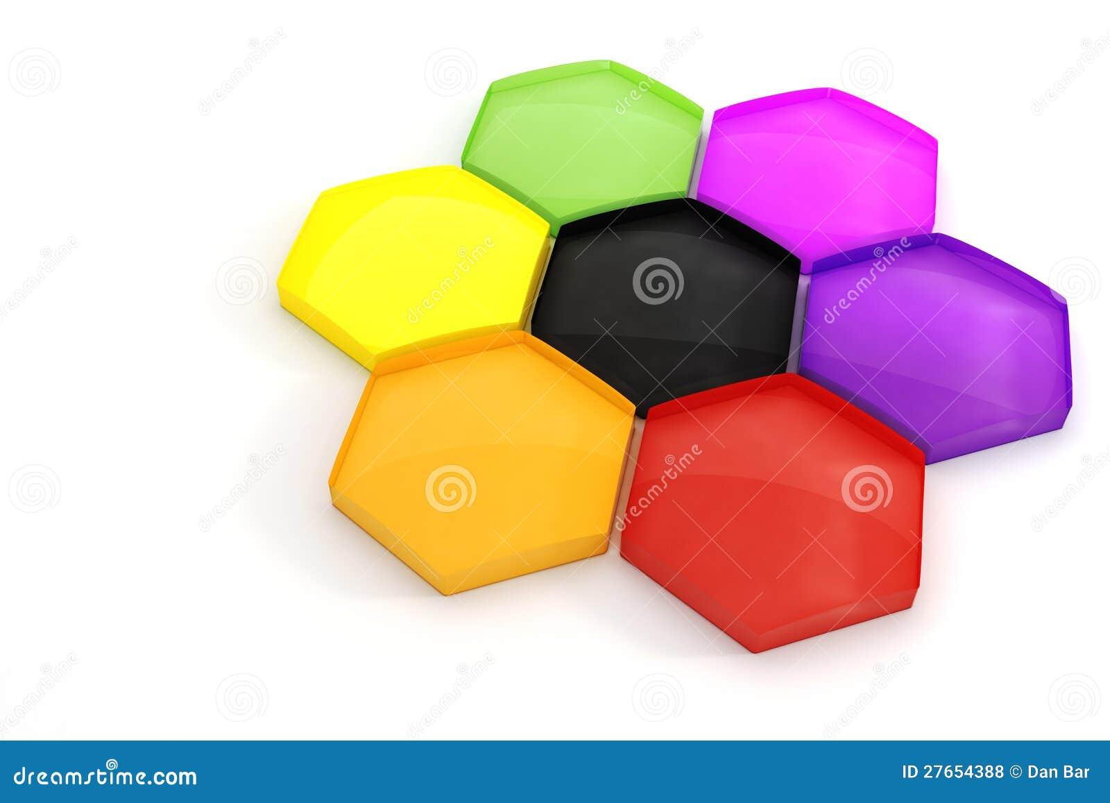 3d łamigłówki kolorowi heksagonalni kawałki