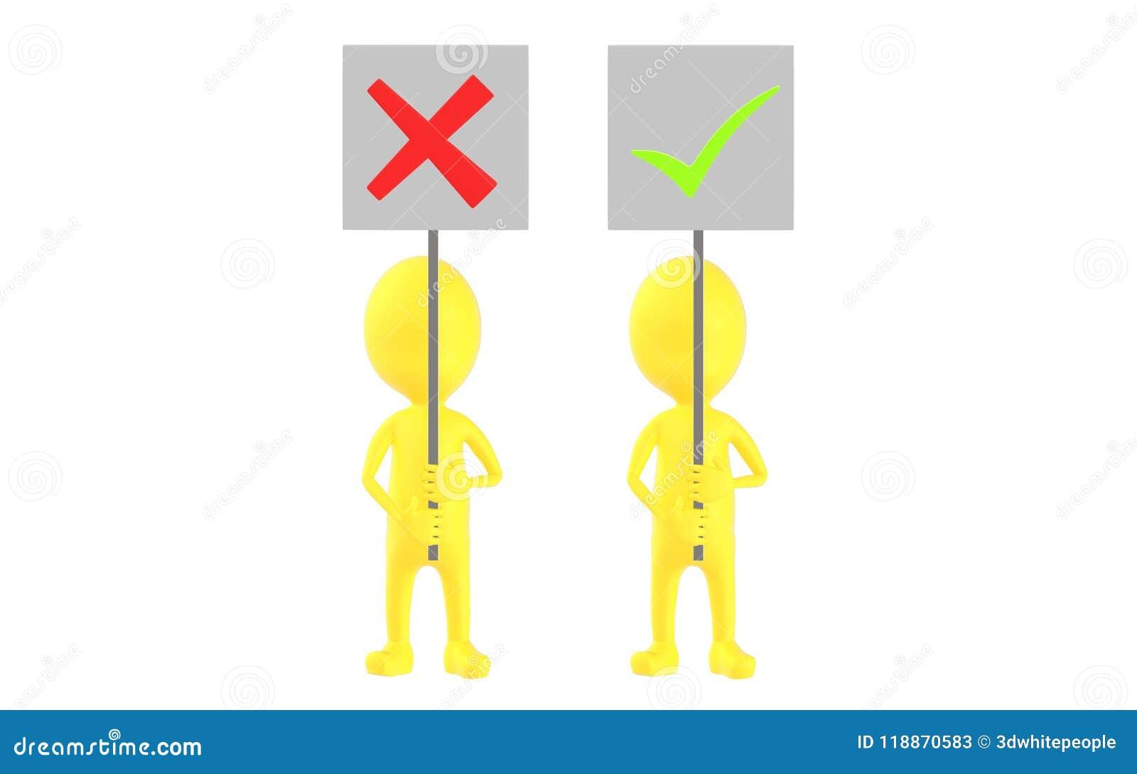 3d желтеют характер, 2 характер, одно из их держа неправильную доску знака и другое удерживание метка знака тикания
