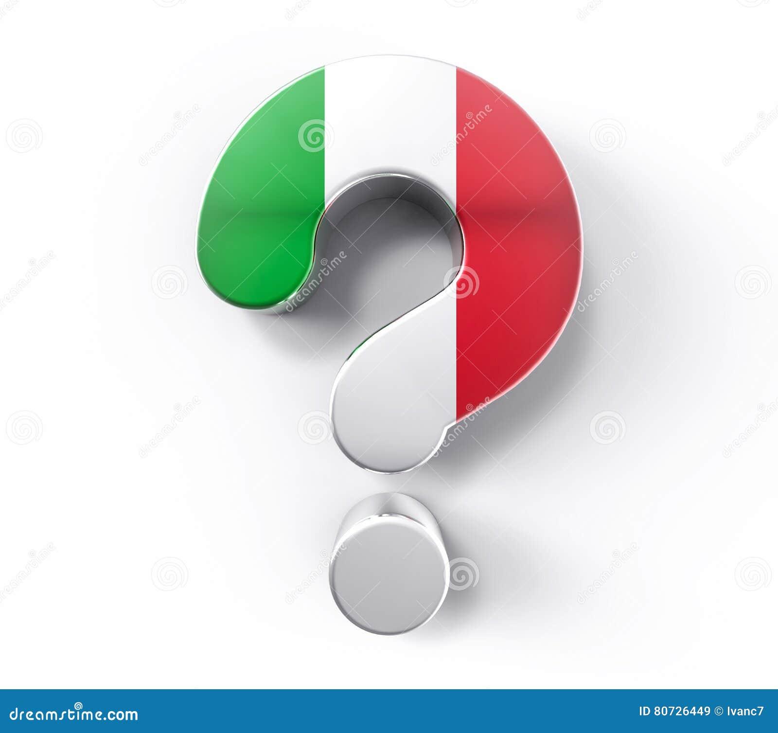 3D изолировало вопросительный знак флага Италии Жулик поддержки решения сомнения
