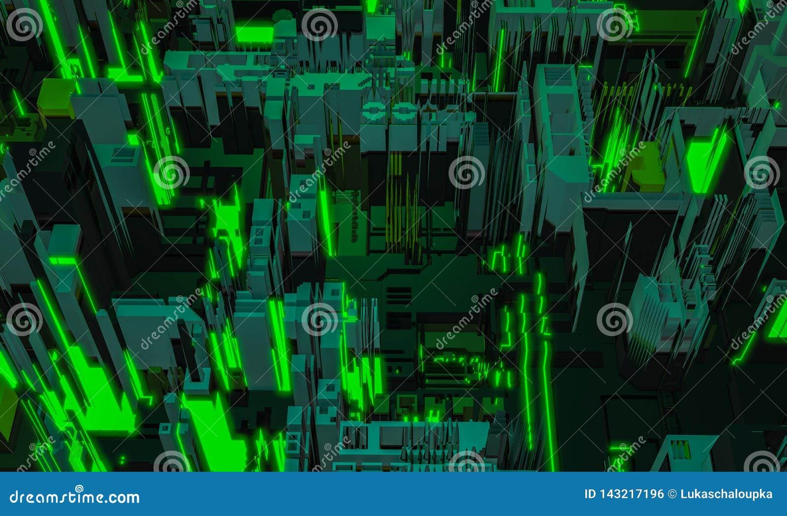 3d представляют часть архитектуры цифрового зеленого цвета конспекта строя Город кибер Повторение технологии PCB платы с печатным