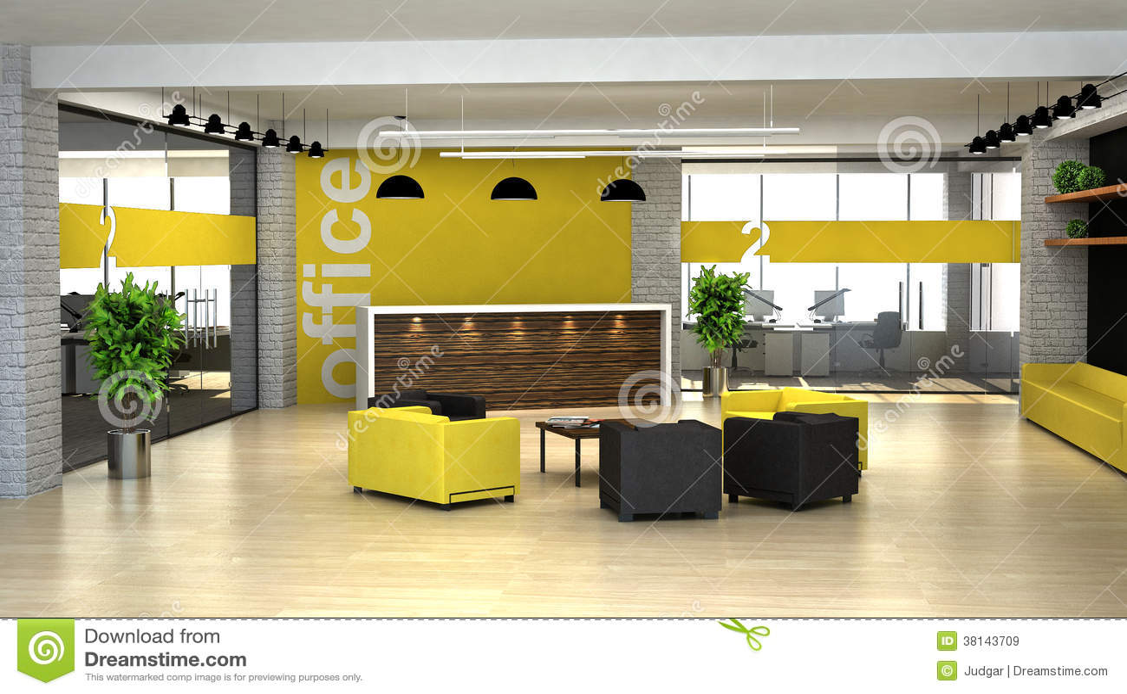 3d представляя интерьер офиса. Hall с приемом
