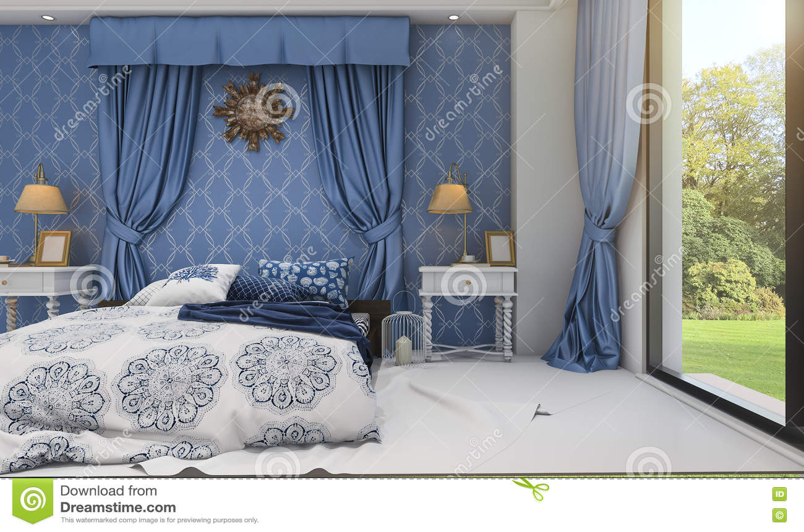 3d представляя красивую голубую классическую спальню около зеленого поля