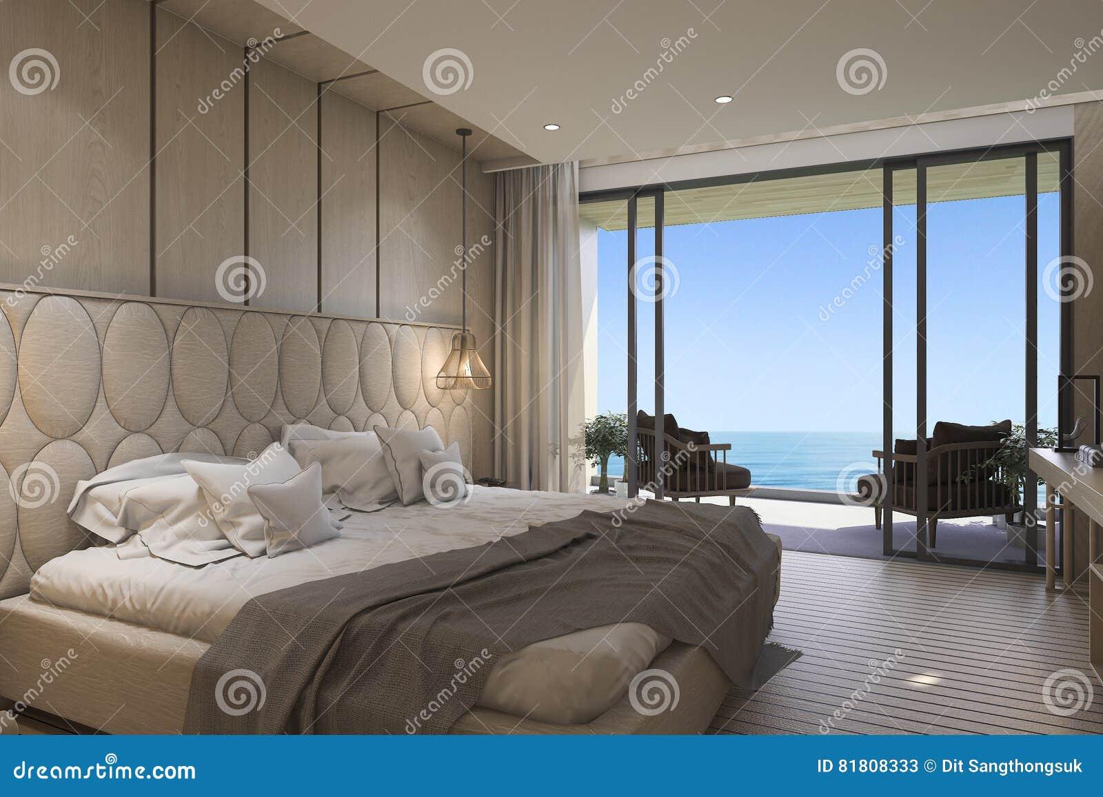 3d представляя славную спальню вида на море с роскошным дизайном