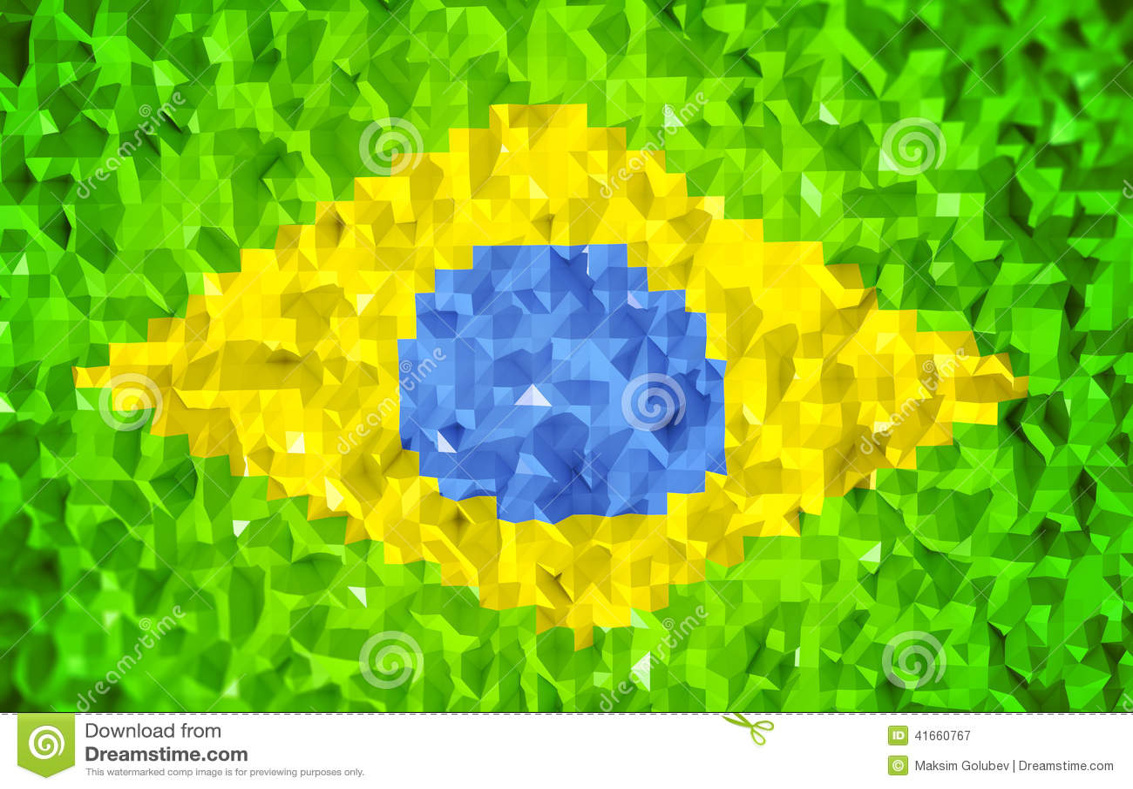 3d флаг lowpoly Бразилии