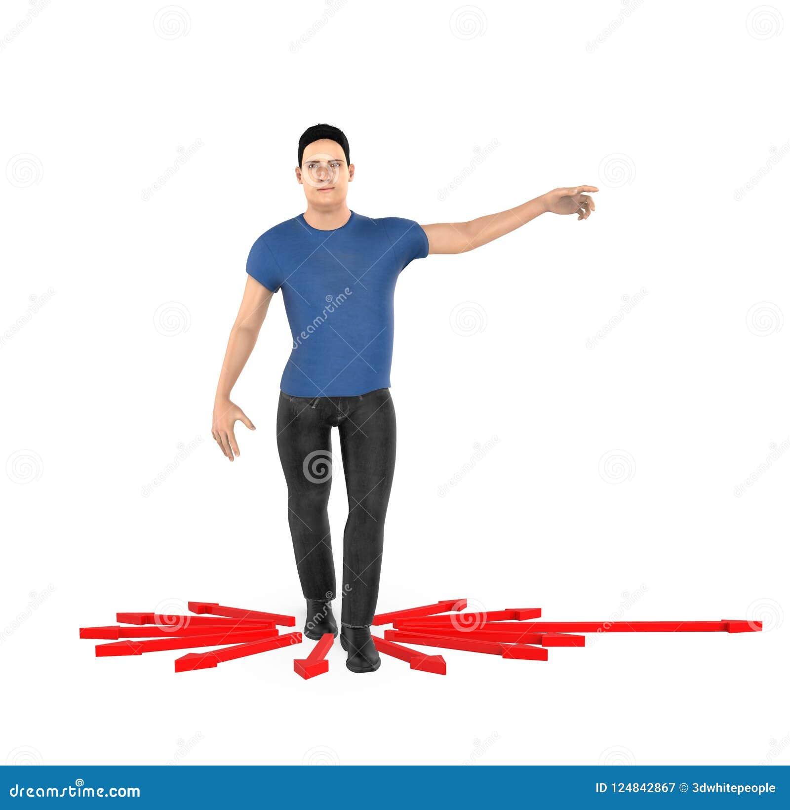 3d характер, женщина указывая его руки к направлению,
