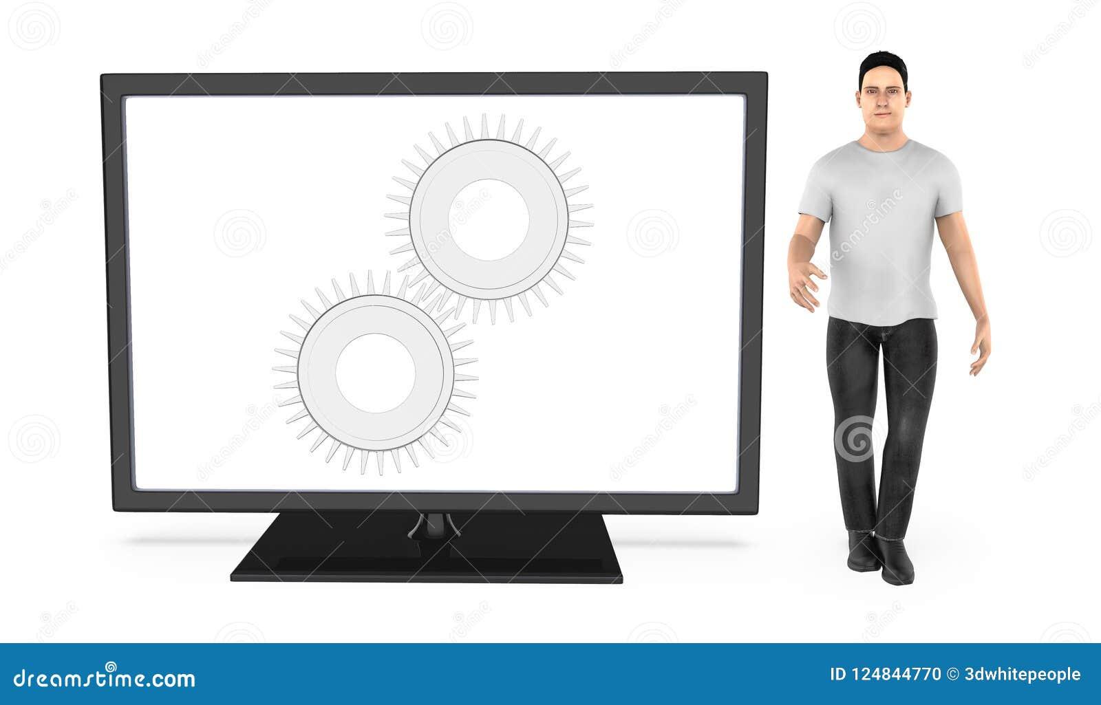 3d характер, человек стоя около экрана монитора с cogwheel в ем - фишка, регулирует, установки