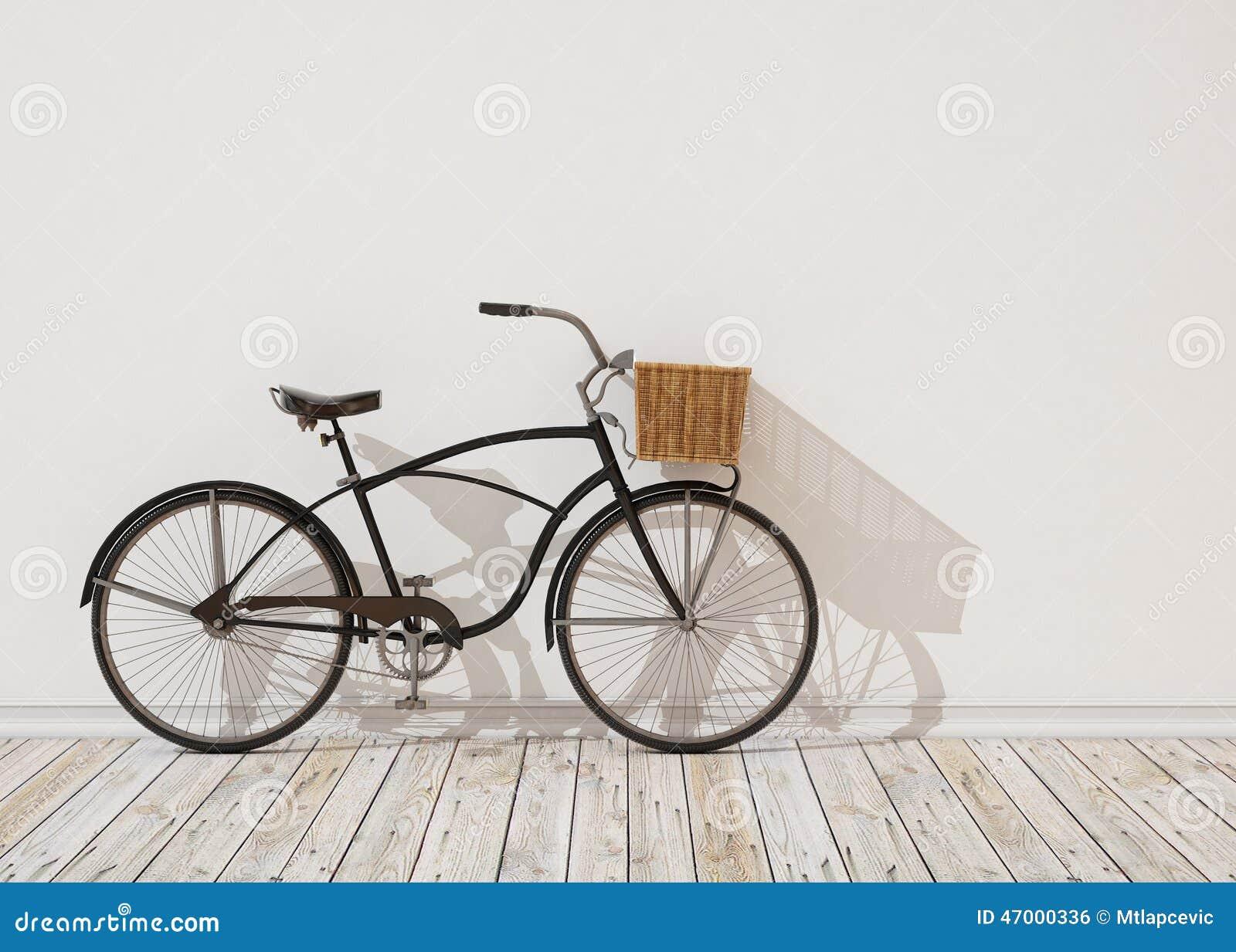 3d黑减速火箭的自行车模型有篮子的在白色墙壁前面,背景