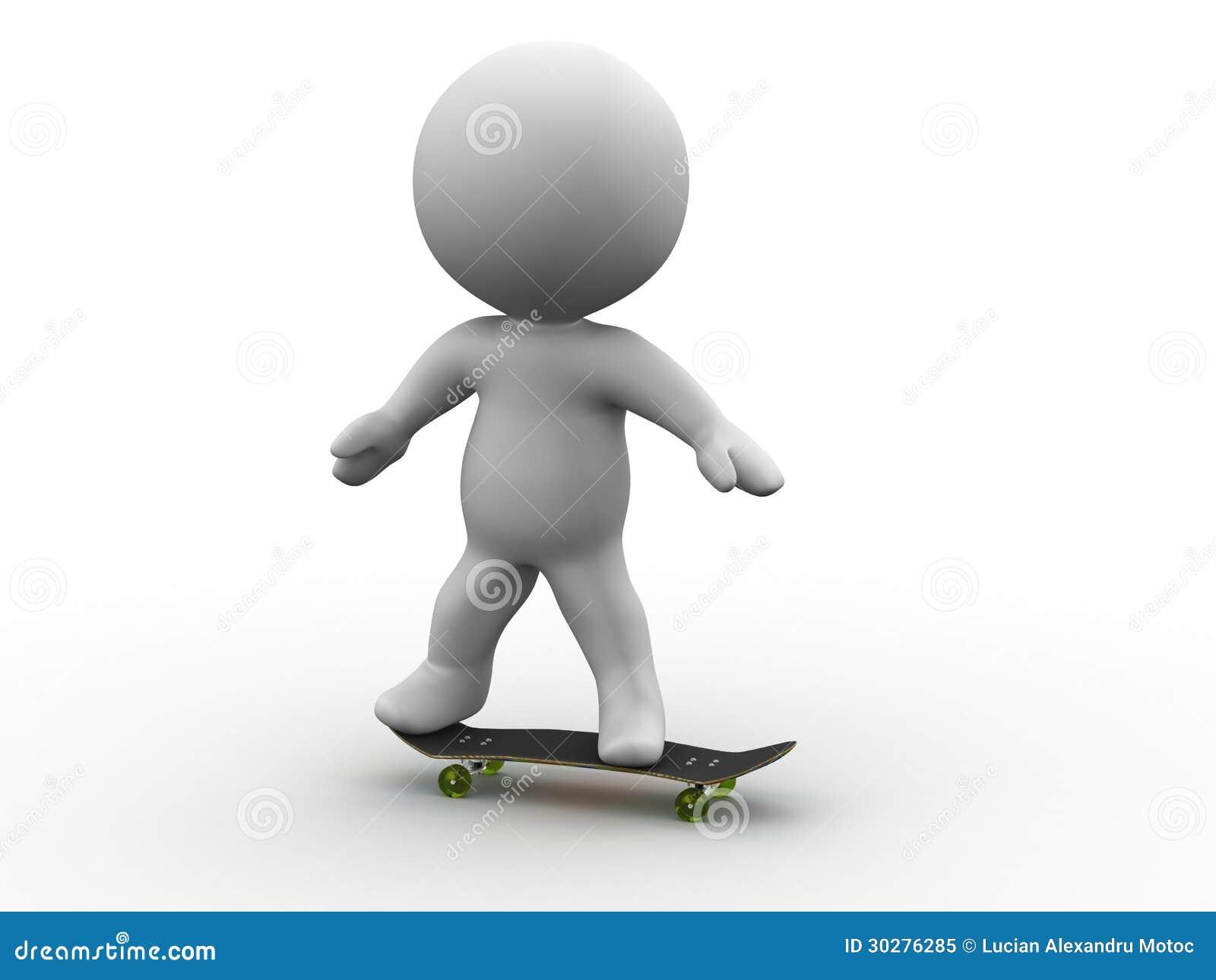 3D乘坐滑板的人