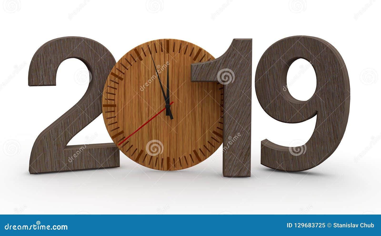 3D 2019的例证年,与木机械时钟的日期 日历、新年假日、庆祝和喜悦的想法 3D renderin
