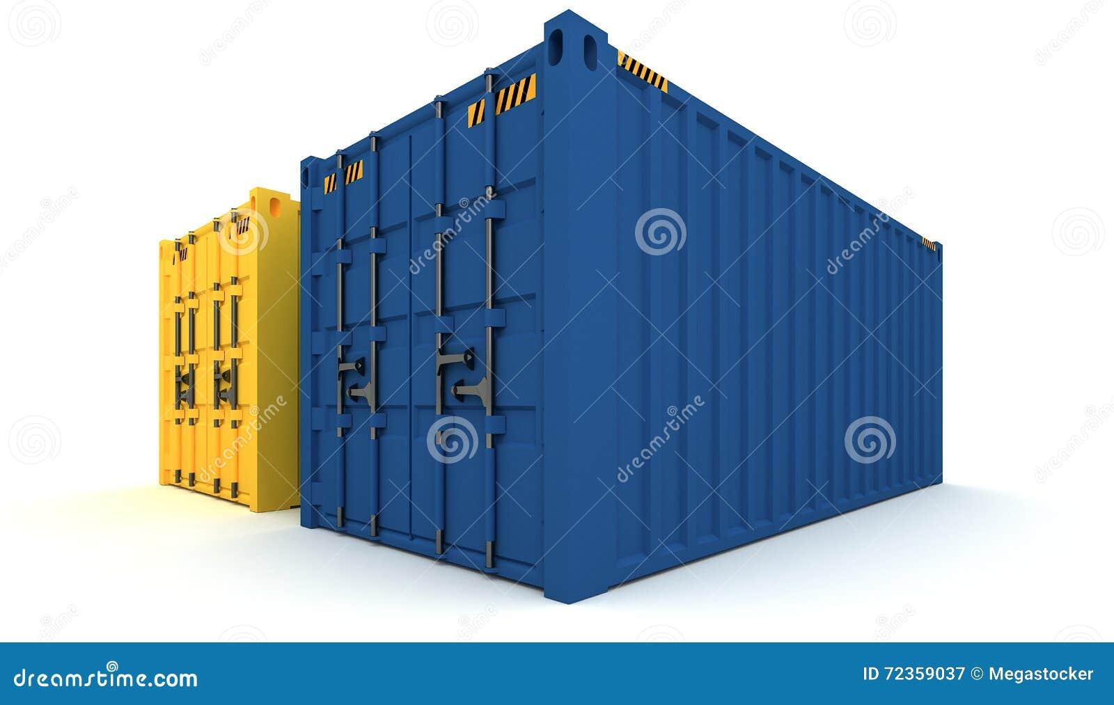 3D货箱的例证在白色隔绝的