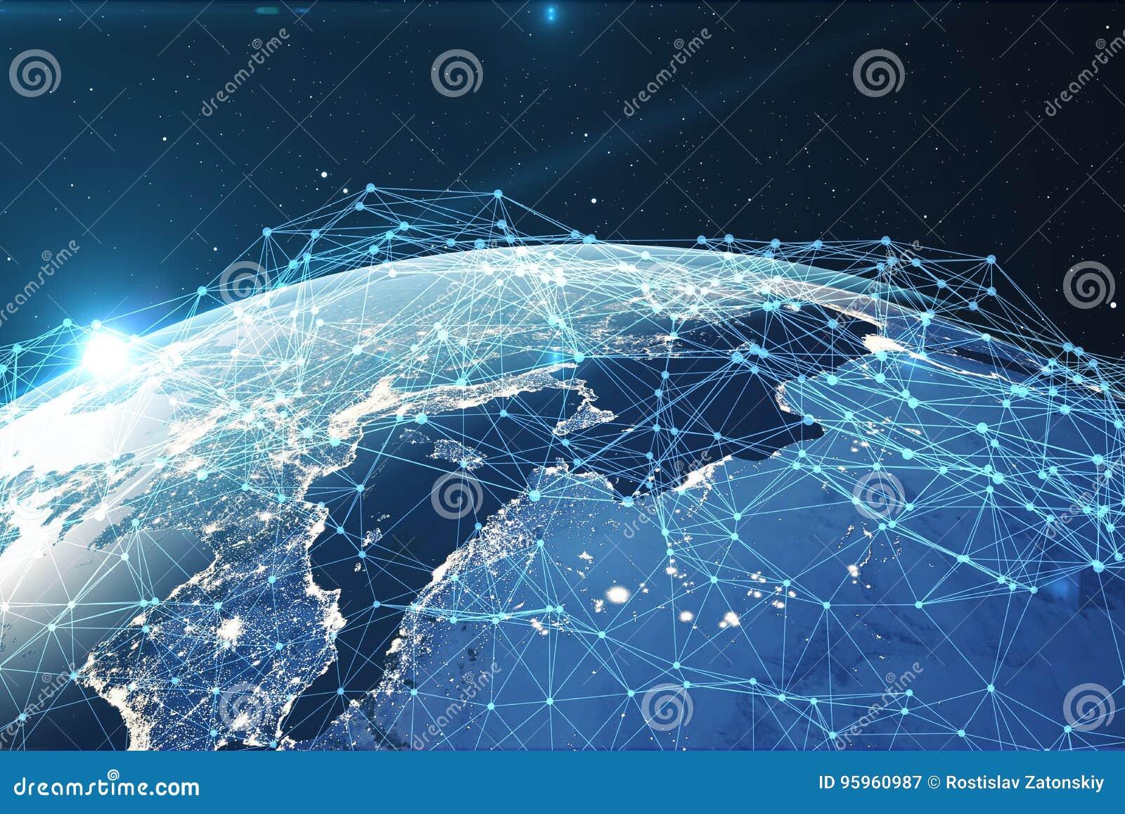 3D翻译网络和数据交换在空间的行星地球 在地球地球附近的连接线 全球
