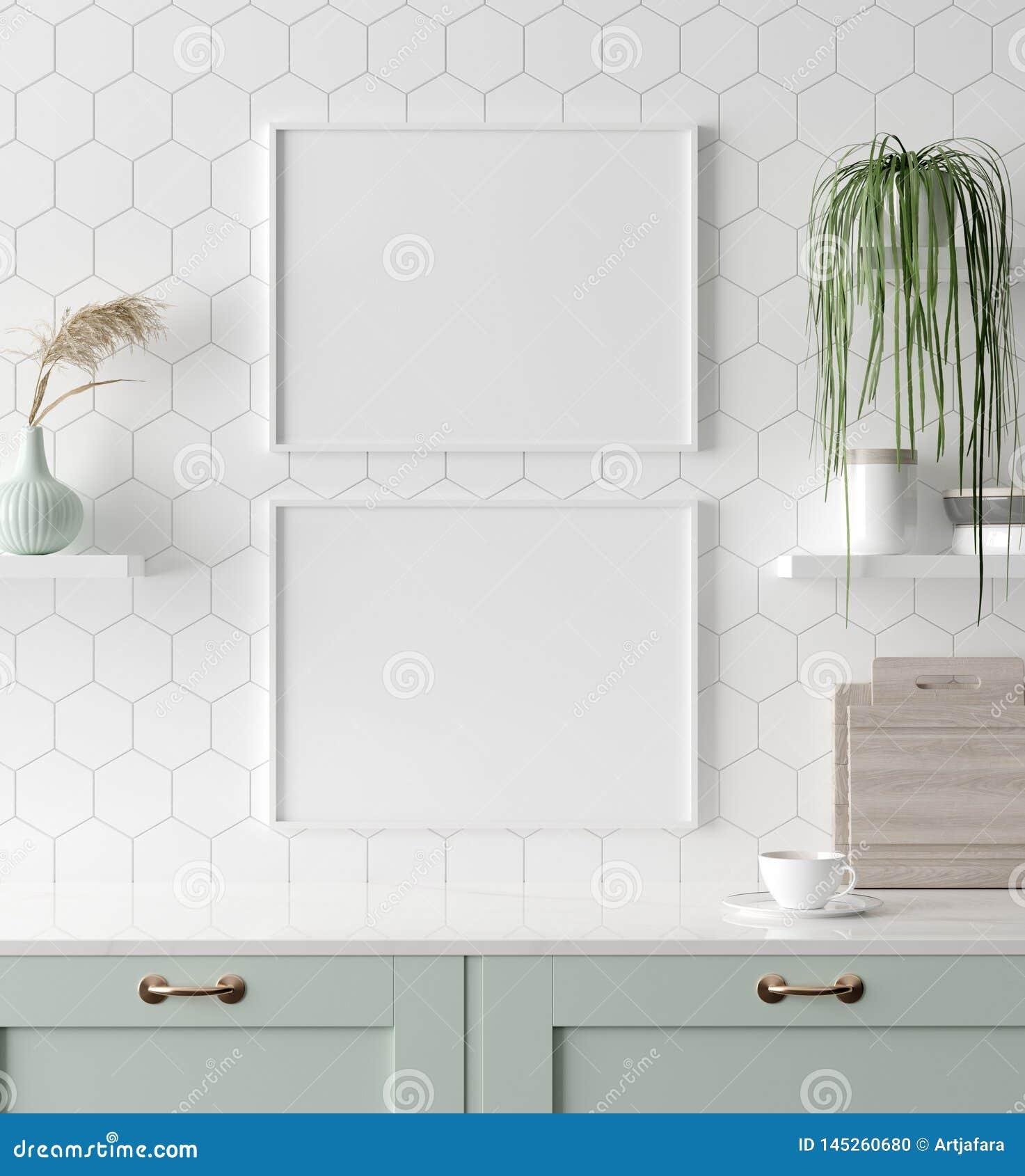在厨房内部,斯堪的纳维亚样式的假装海报框架