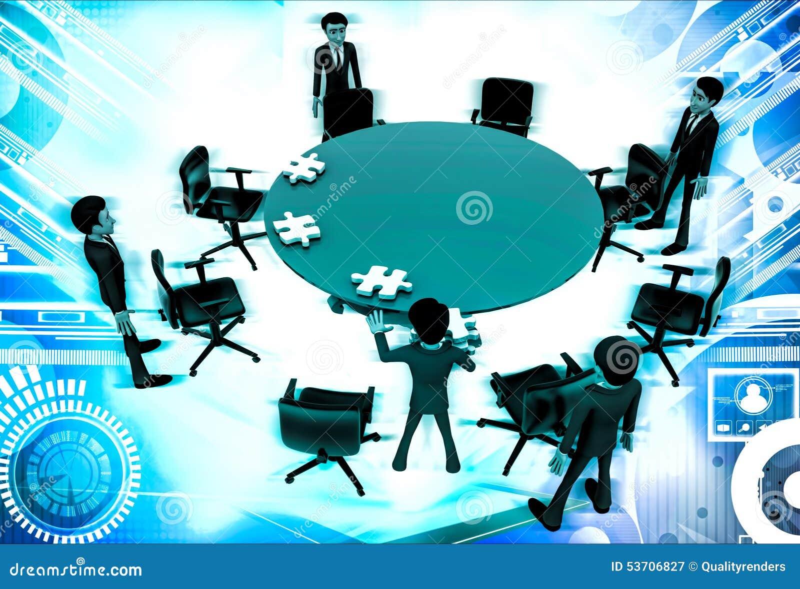 3d人在办公室会议例证的会议室坐抽象背景,右边角度图.