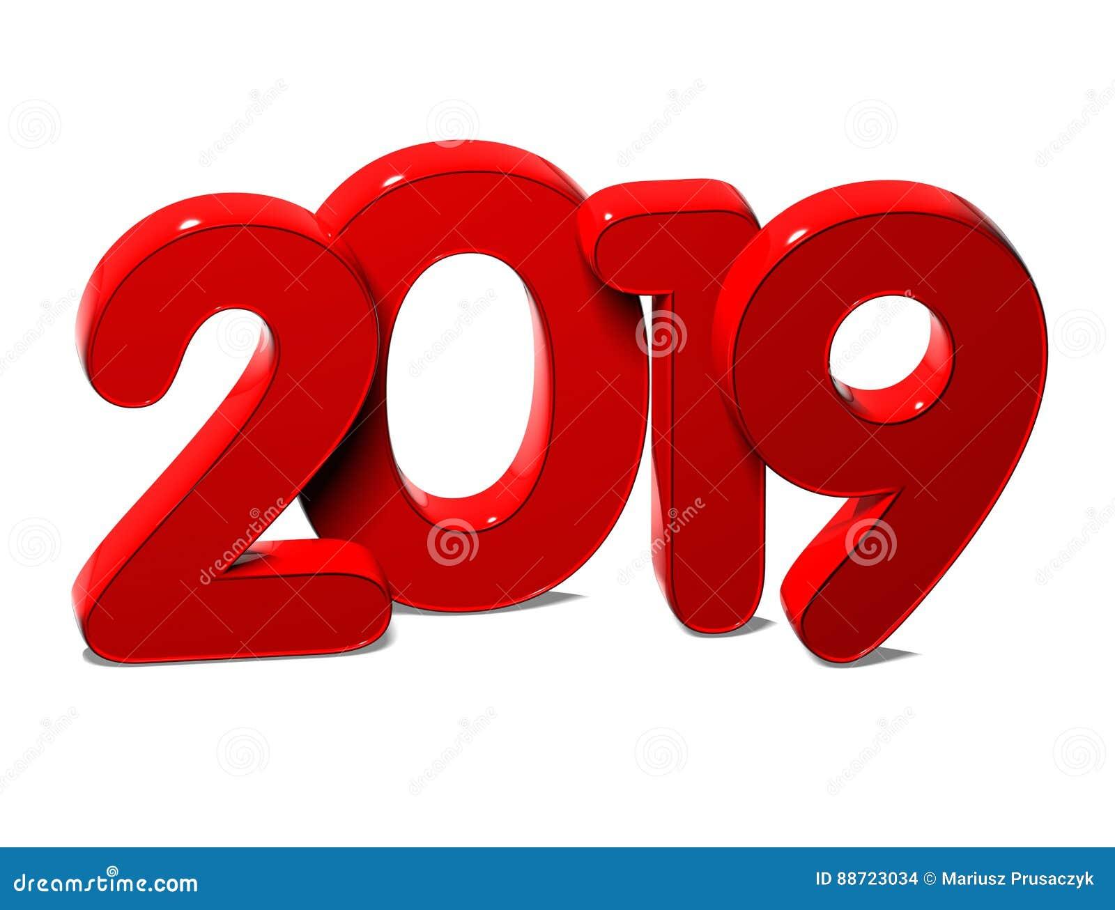 3D Año Nuevo rojo 2019 en el fondo blanco