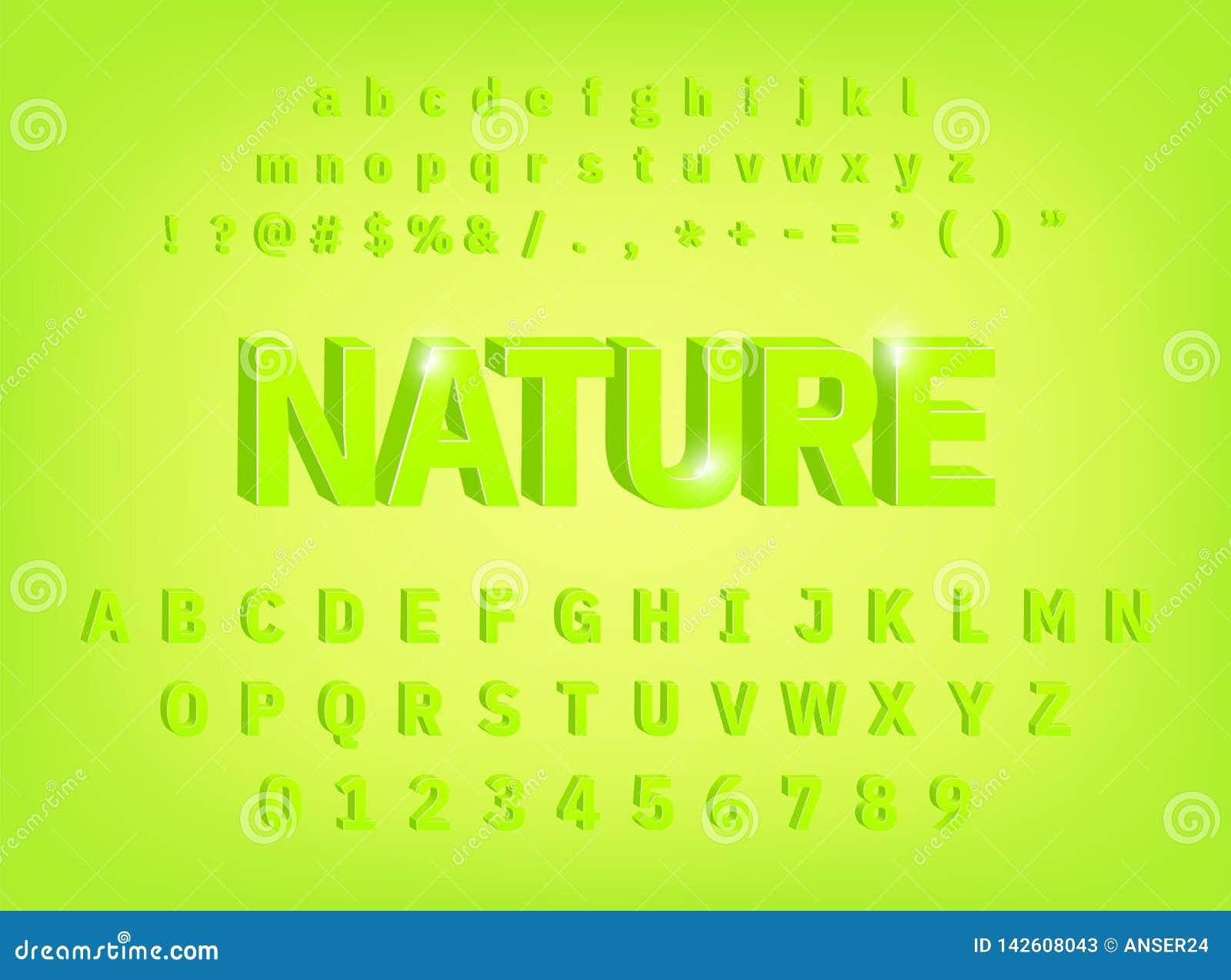 3d abecadła natury typeface śmiały projekt