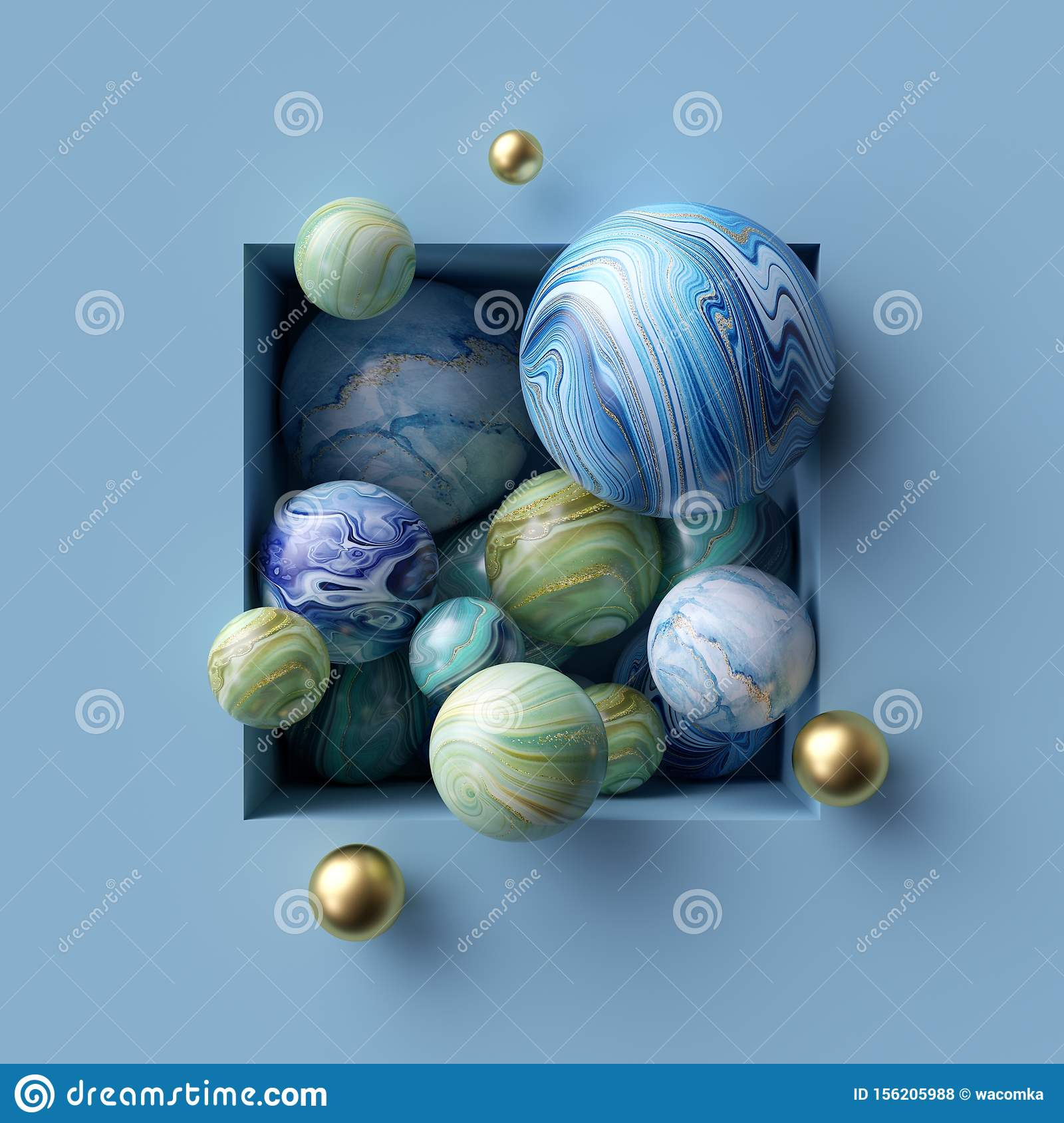 3d Abstract Background Assorted Marble Balls Inside Square Niche