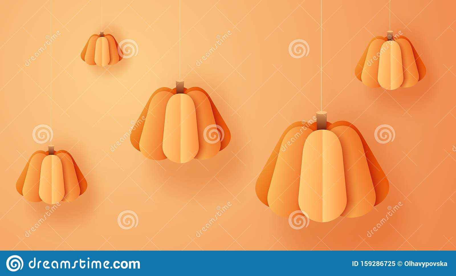 3d abstract paper cut illustration of hanging pumpkins on orange background. Thanksgiving or halloween concept in trendy