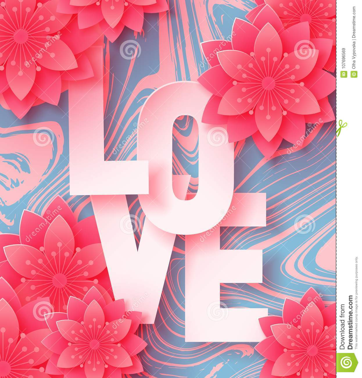 3d abstract paper cut illustration of love letters and paper art pink flowers on marble background.