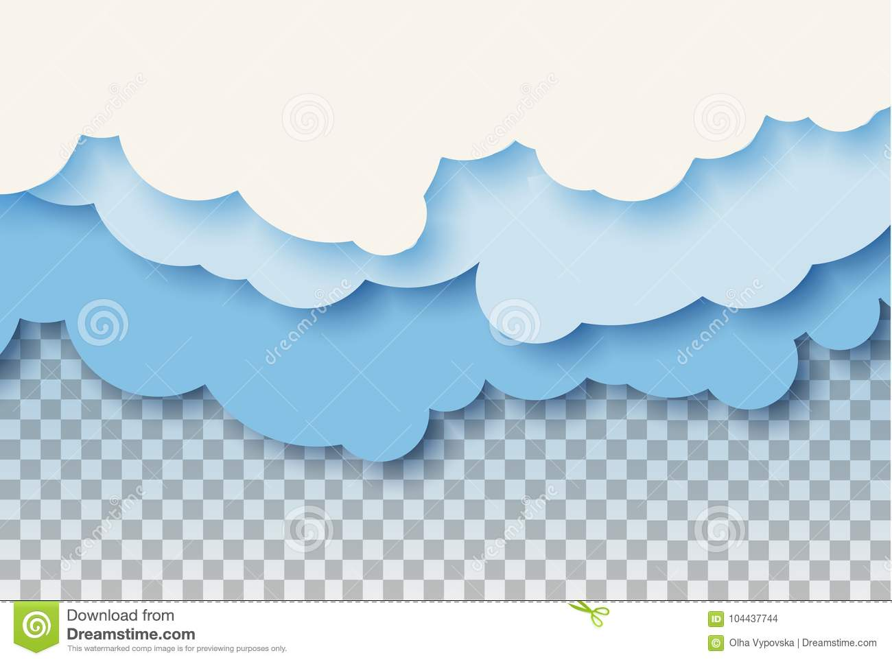 3d abstract paper cut illustration of pastel blue sky and clouds
