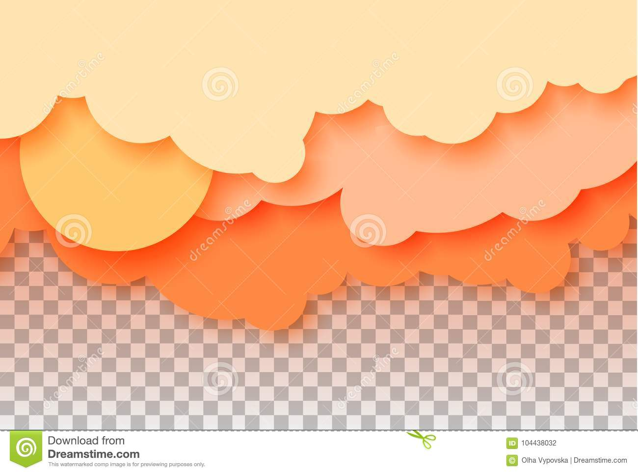 3d abstract paper cut illustration of pastel orange sky sun and