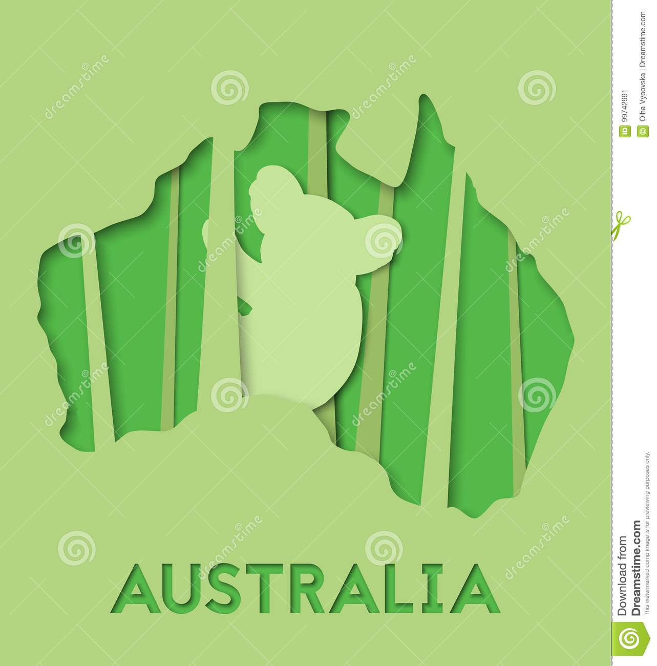 D abstract paper illlustration of australia green map with koala