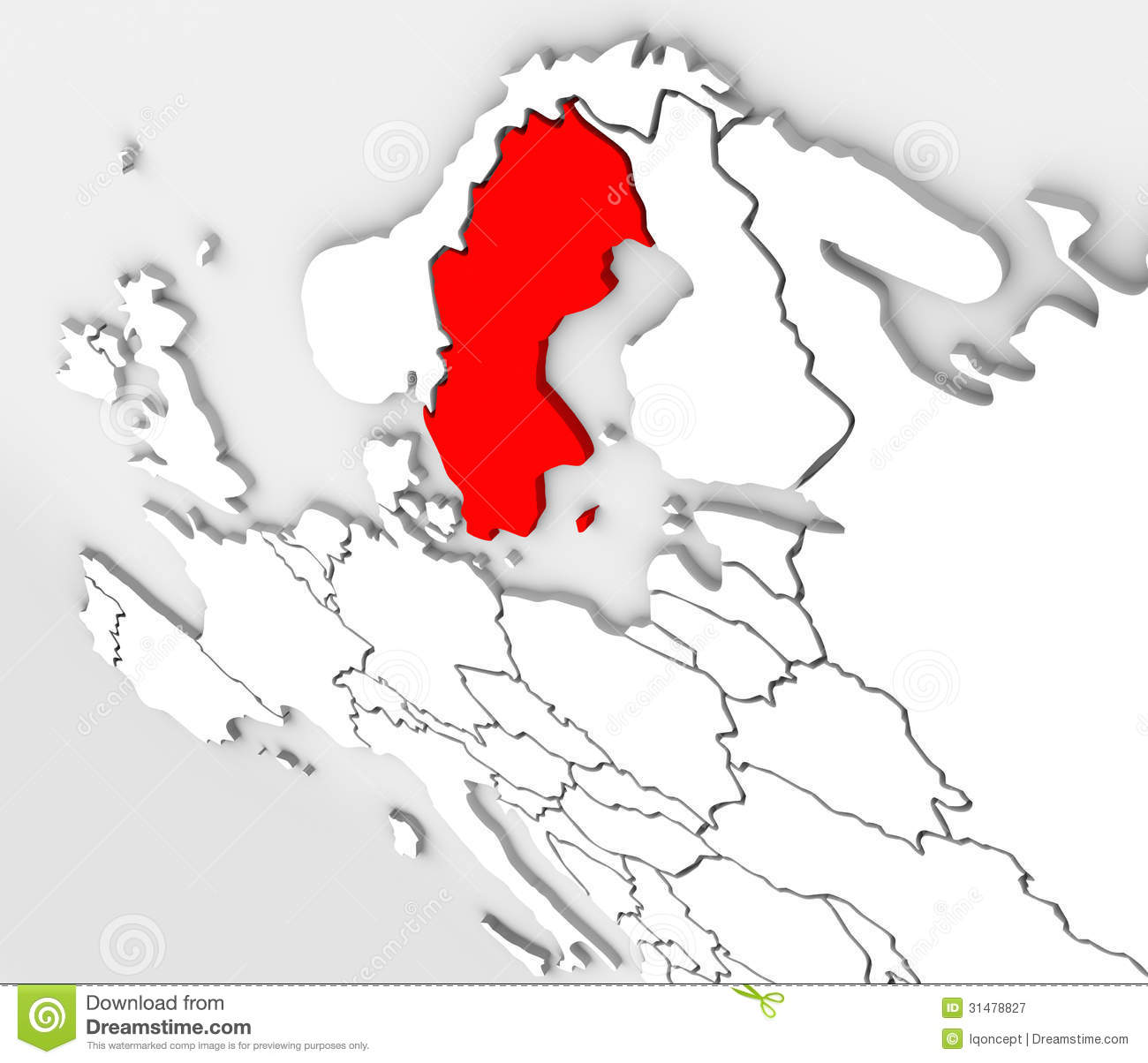 D Abstract Sweden Map Europe Northern Continent Stock - Sweden map 3d