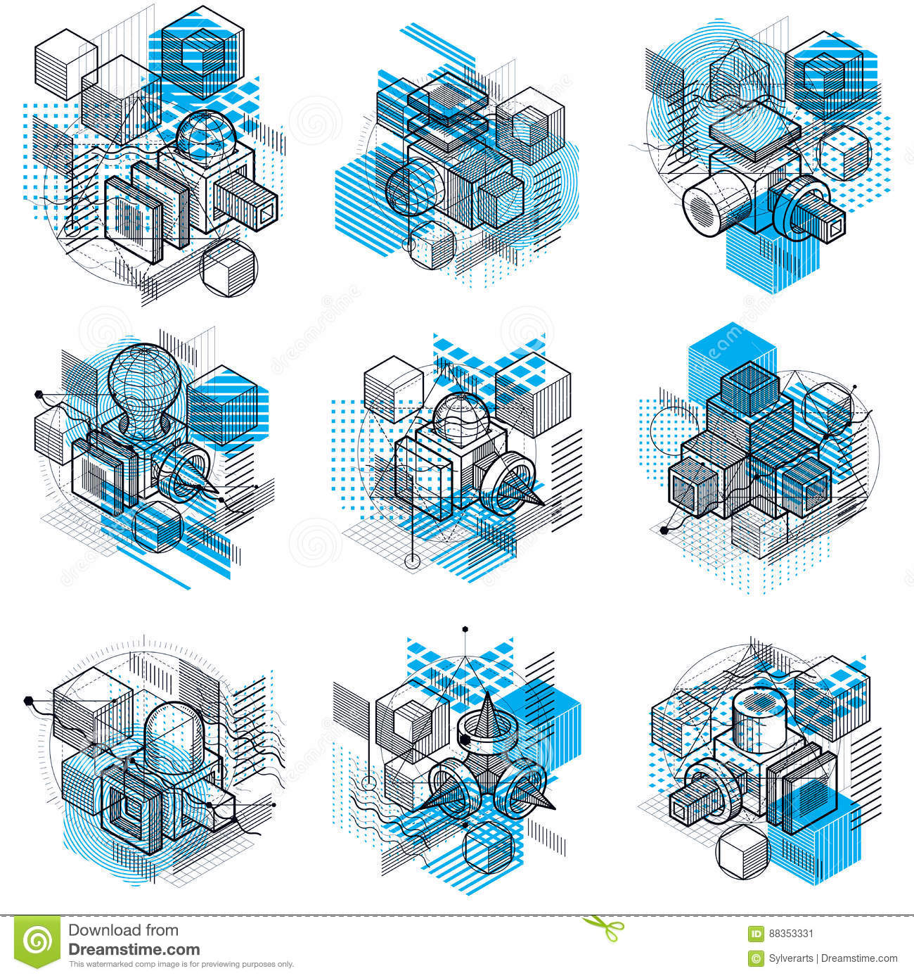 3d abstract vector isometric backgrounds layouts of cubes hexa
