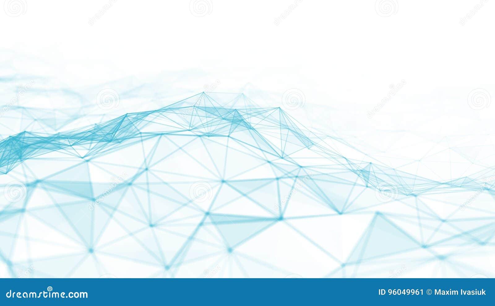 3d abstracto que rinde puntos y líneas futuristas estructura digital geométrica de la conexión del ordenador Plexo con las partíc