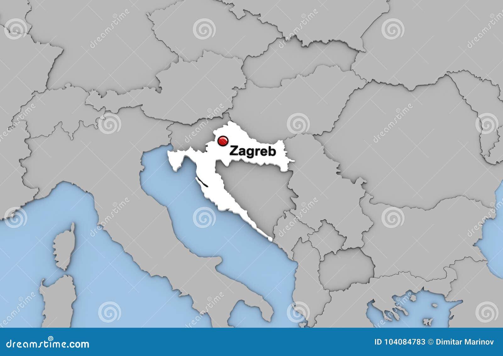 3d Abstractos Rinden Del Mapa De Croacia Stock De Ilustracion