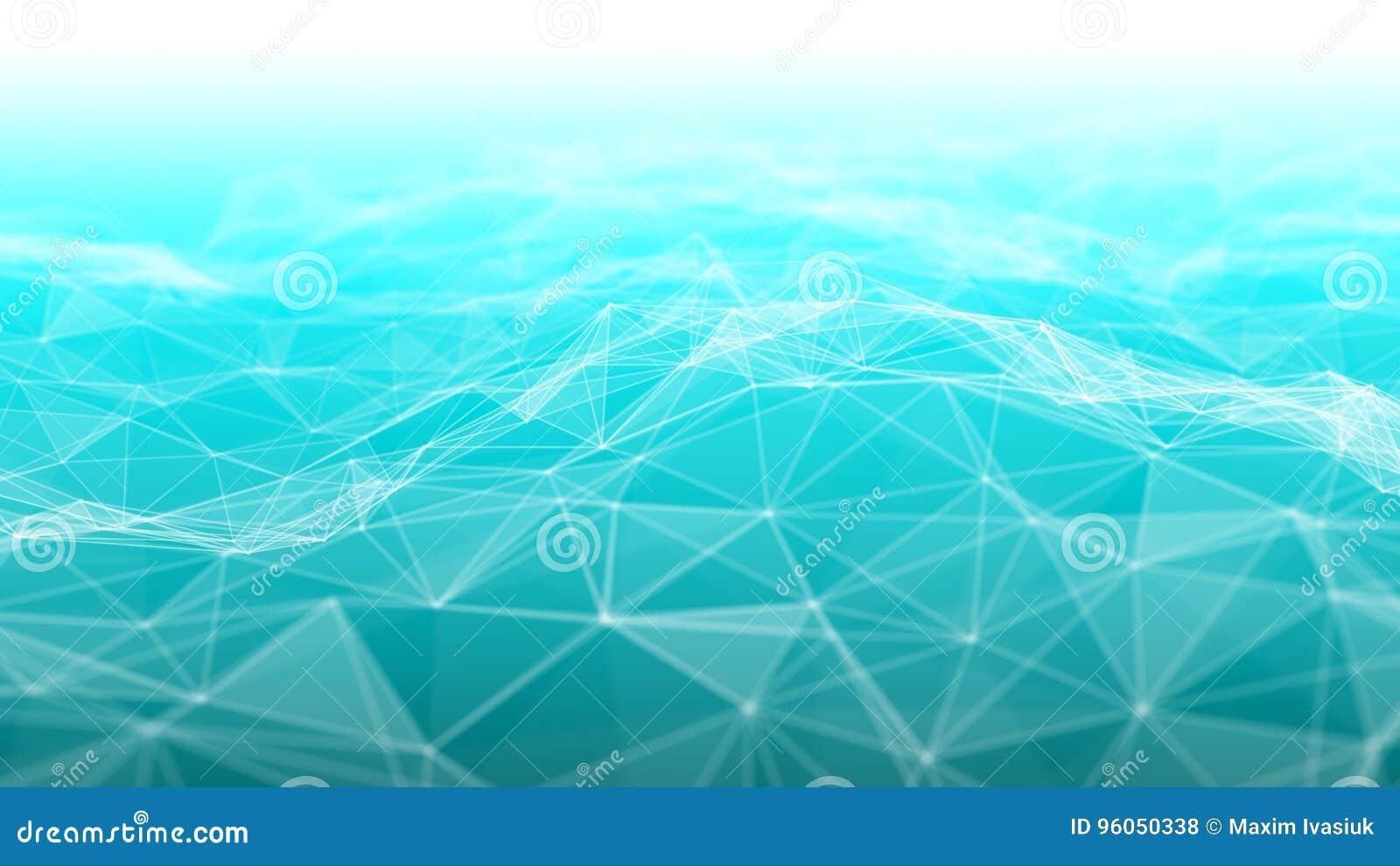 3d abstrait rendant les points et les lignes futuristes structure numérique géométrique de connexion d ordinateur Plexus avec des