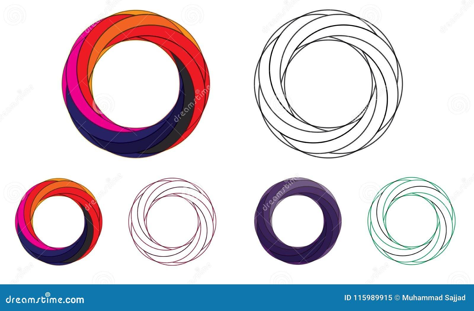 3D Abstrakt Sfera Logo Zaokrąglający Globle Kurenda Logo Szablon Nowożytny Firma loga symbolu wektor