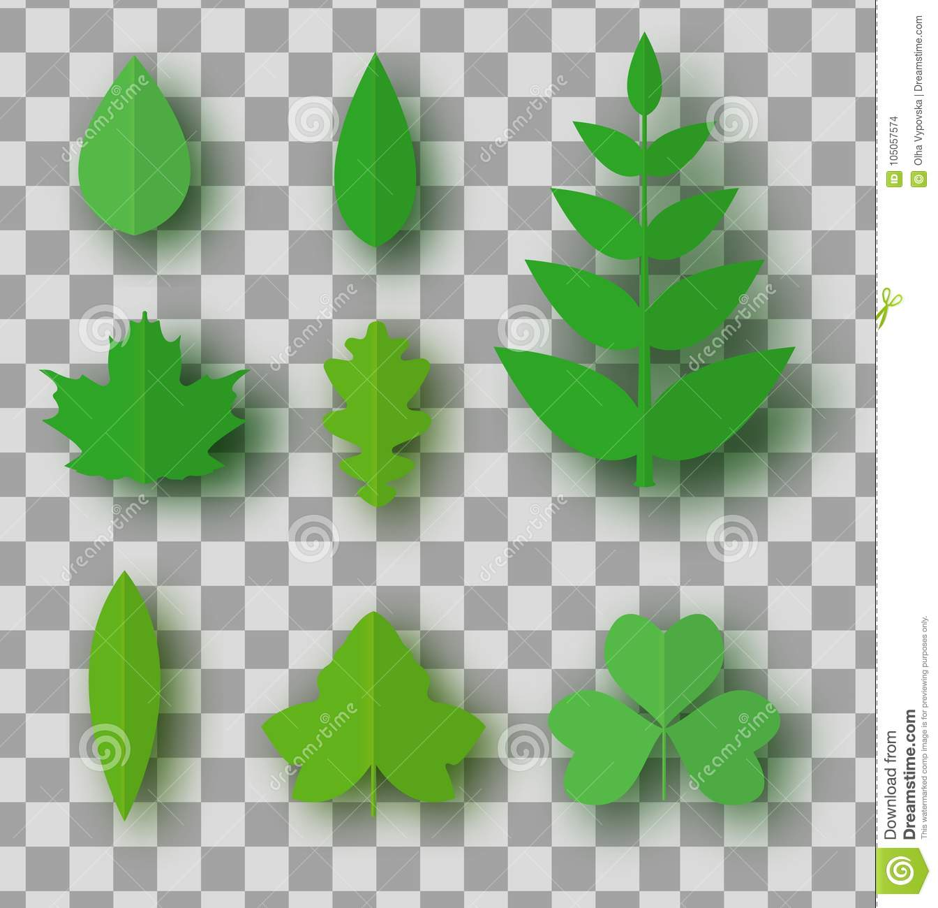3d abstrat paper art set with paper cut green leaves isolated on