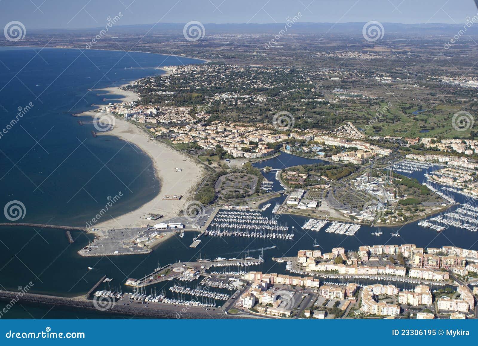 D Agde de Grau - sud de la France. Vue aérienne