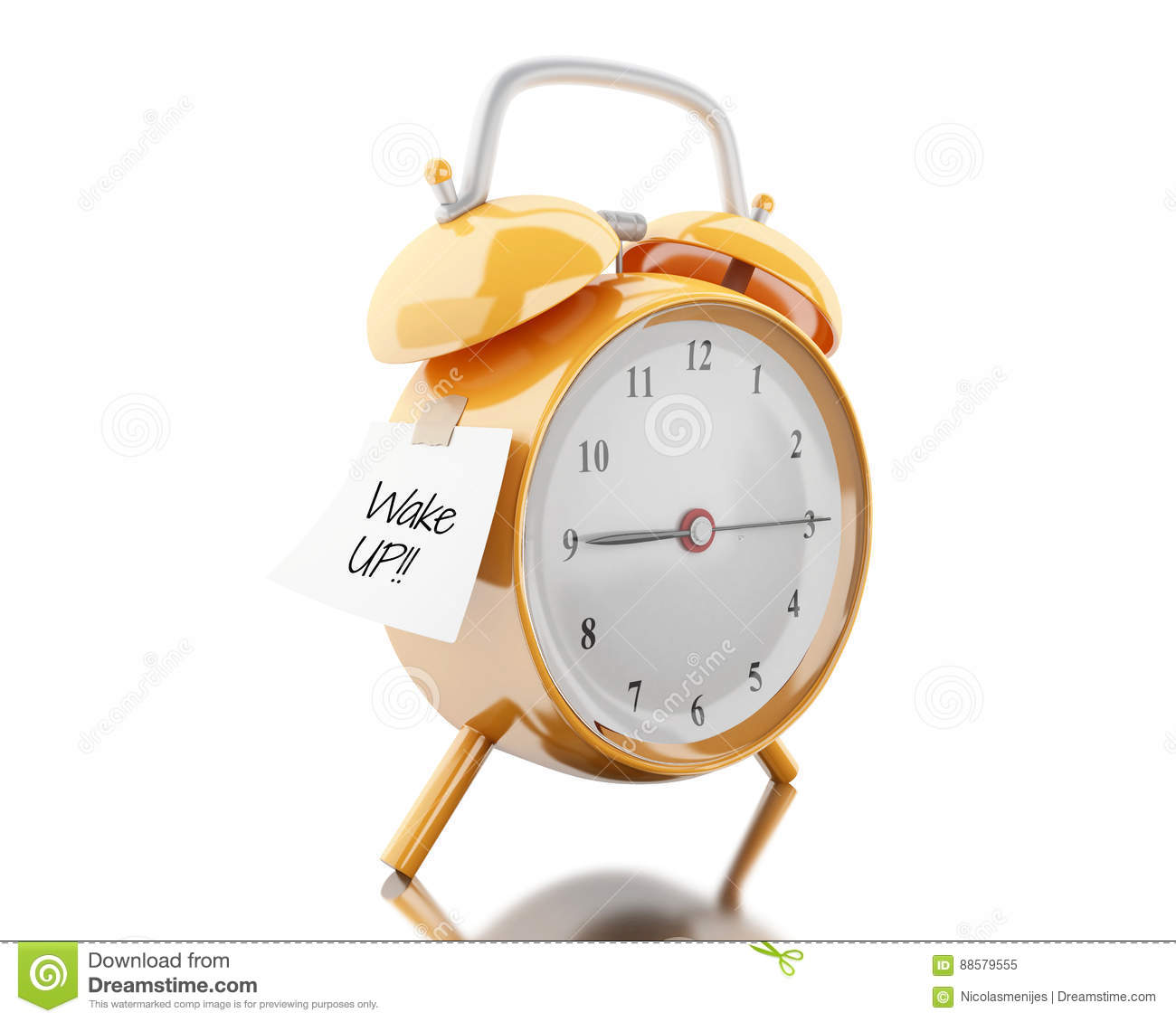 3d Alarm Clock With Sticky Paper Written Royalty-Free ...