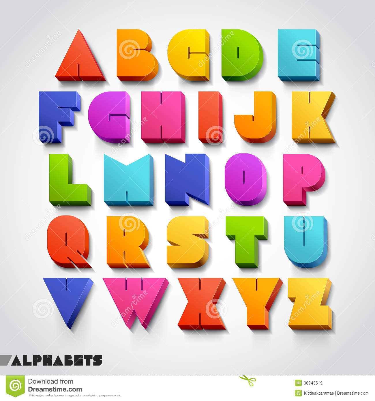 3D Alphabet Colorful Font Style. Stock Vector