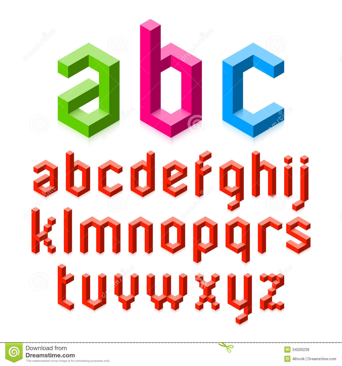 D Alphabet Letters Stock Vector Illustration Of Square