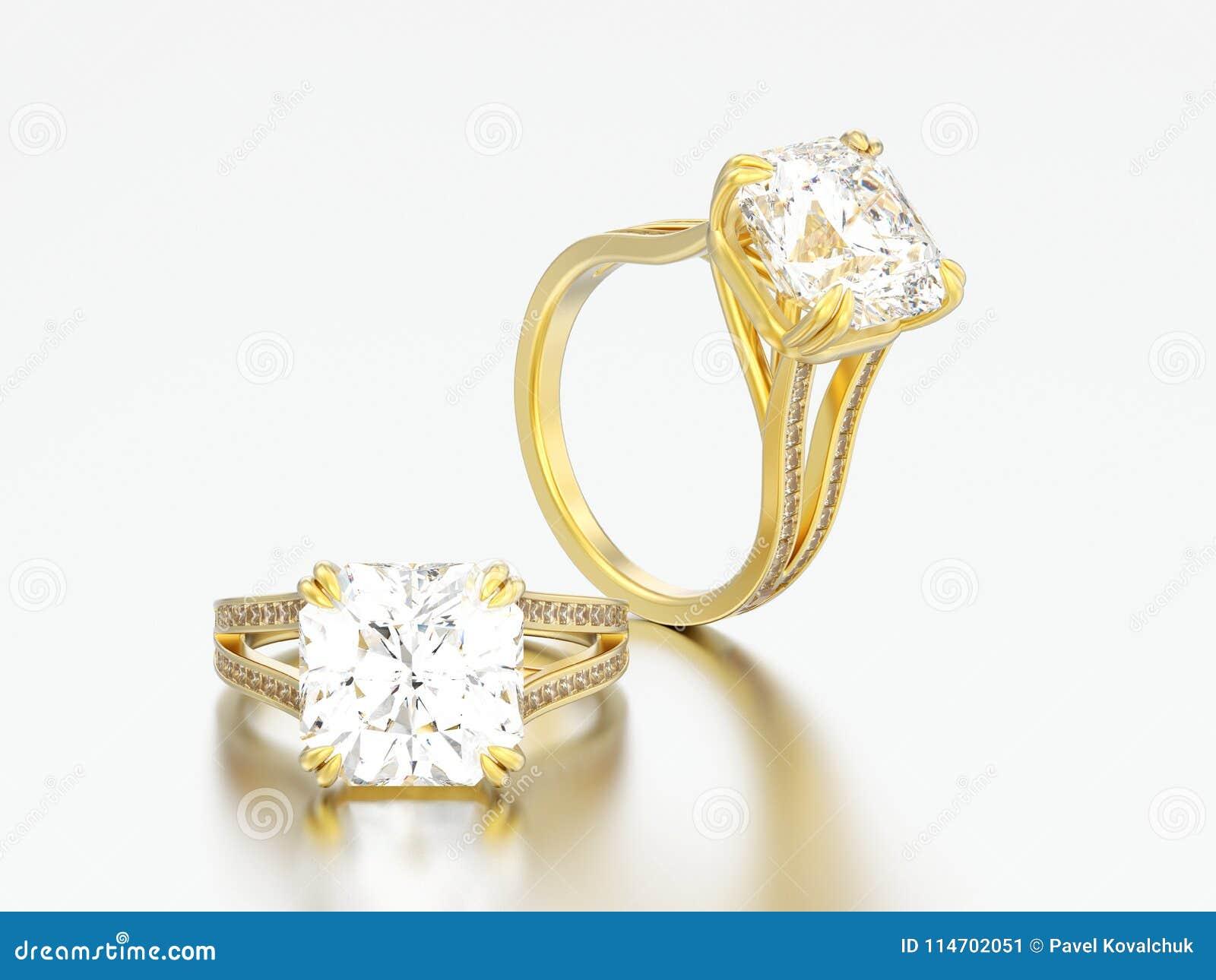 3D anelli di diamante di impegno dell oro giallo dell illustrazione tre