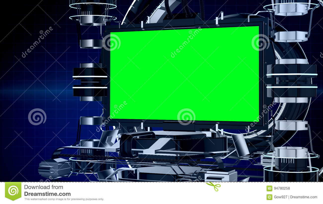 3d animation news reporting screen television or media program interface  with mechanical stage chroma key green screen background