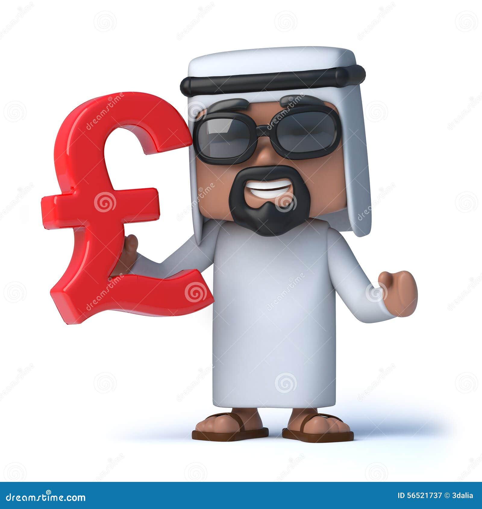 3d Arab Holds Uk Pounds Sterling Currency Symbol Stock Illustration