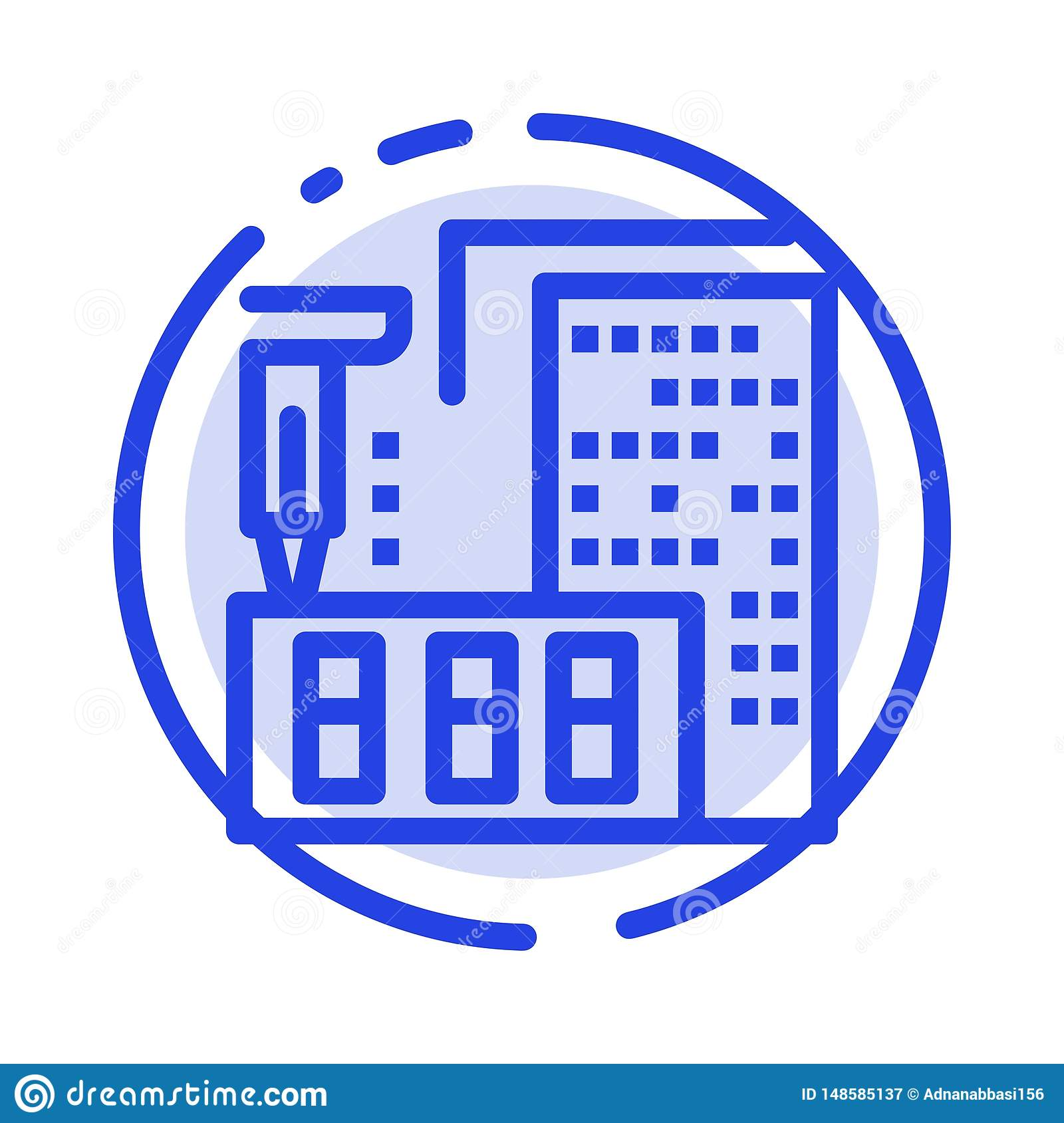 3d Architecture Construction Fabrication Home Blue Dotted Line Line Icon Stock Vector Illustration Of Small Mortgage 148585137