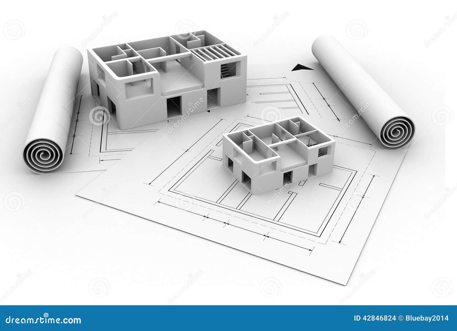 3d Architecture House Blue Print Plan