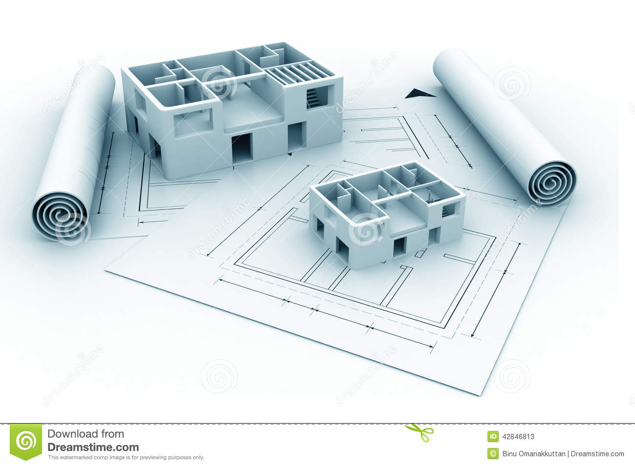 3d architecture house blue print plan stock illustration