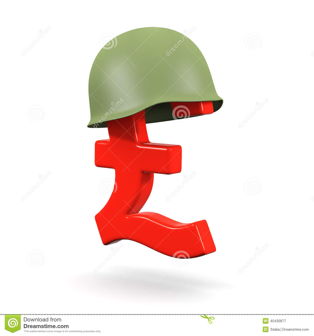 3d Army Helmet On Uk Pounds Sterling Currency Symbol Stock