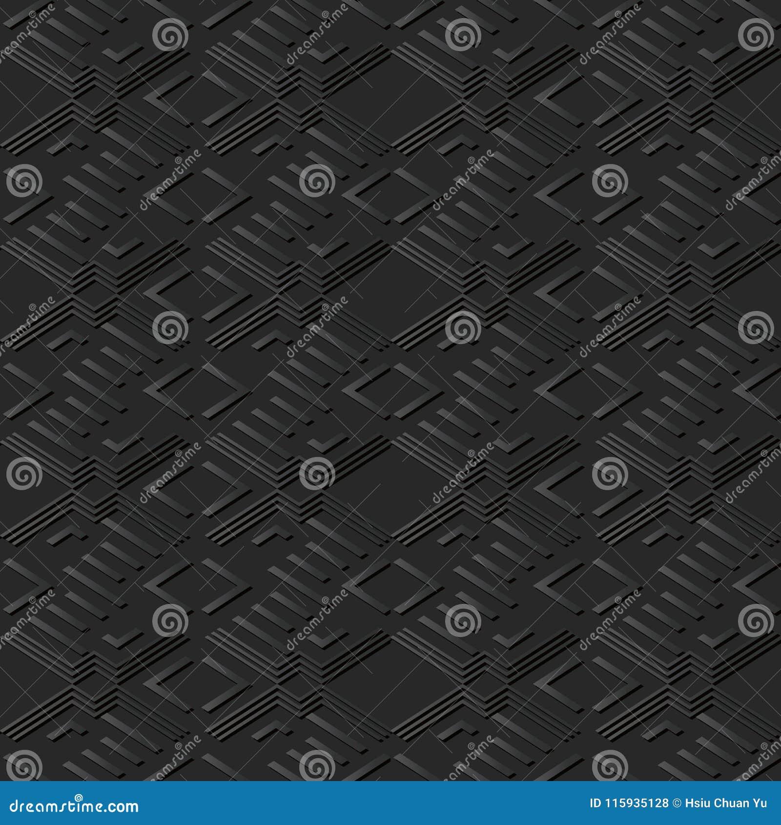 3D arte di carta scura Diamond Check Cross Geometry Frame