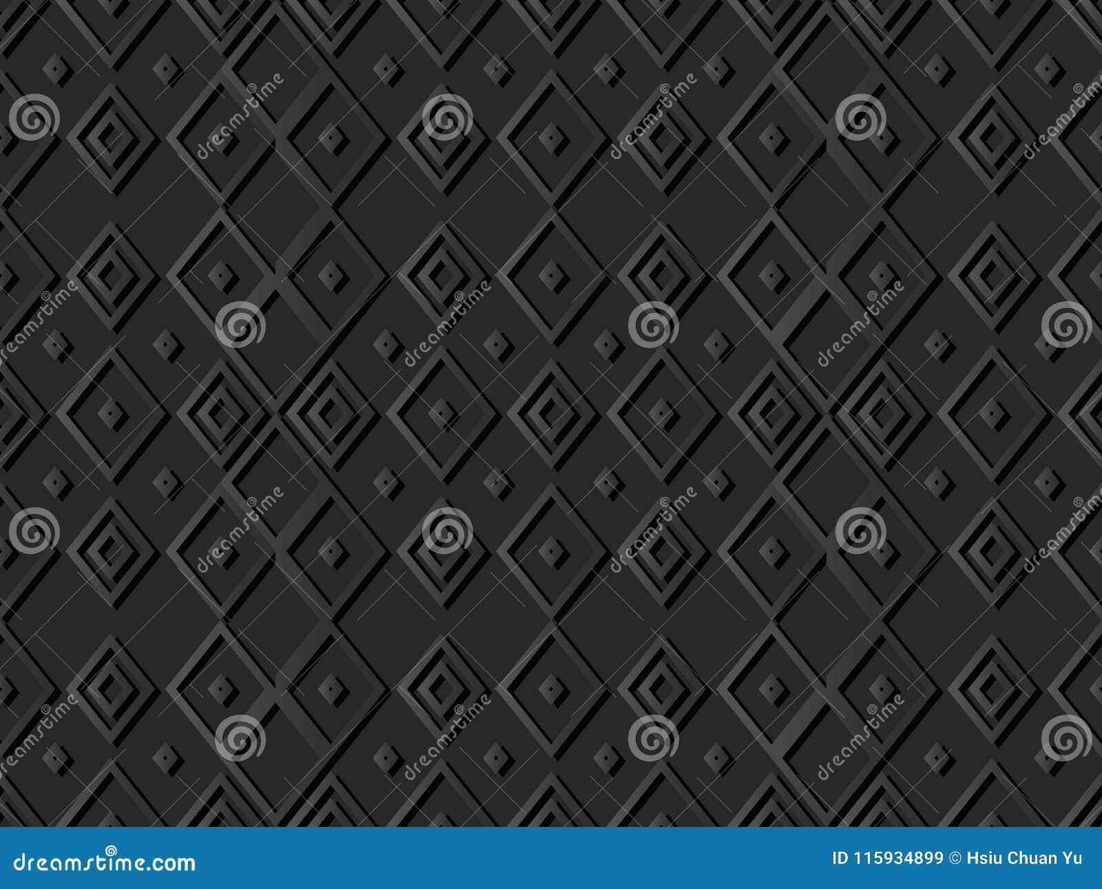 3D arte di carta scura Diamond Check Cross Rhomb Geometry