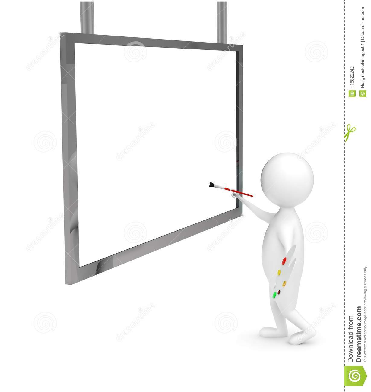 3d artist character painting on a large blank canvas conept