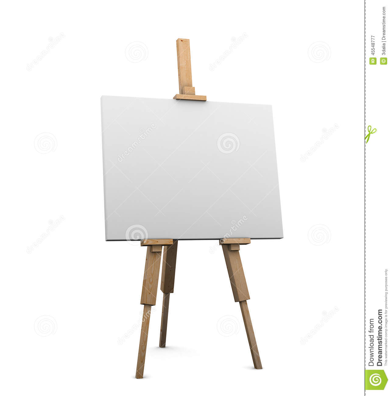 3d artists easel with blank canvas stock illustration - Caballete para pintar ...