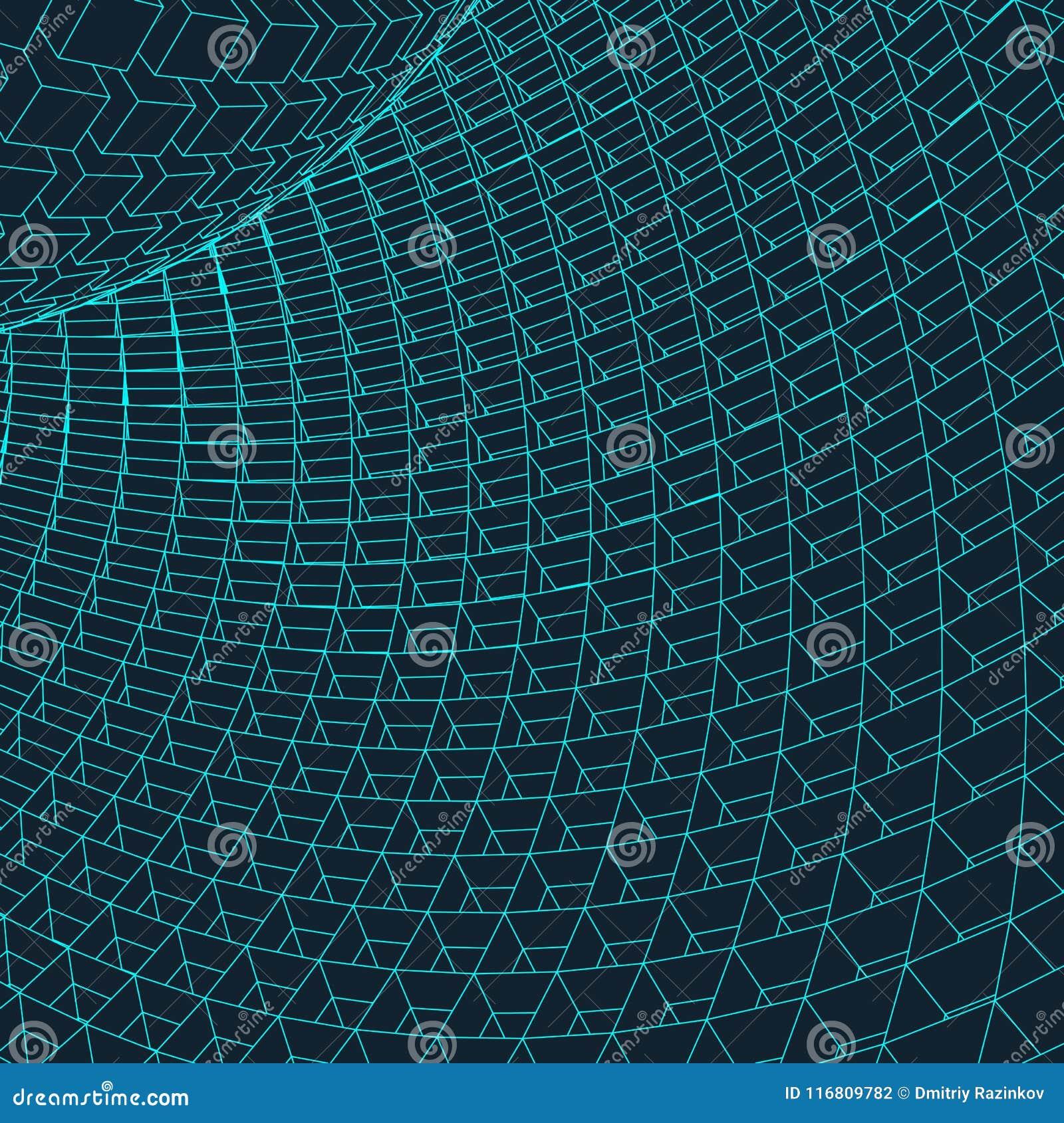3d astratto Mesh Sphere distorto Illuminated Segno al neon Tecnologia futuristica HUD Element Elegante distrutto grande