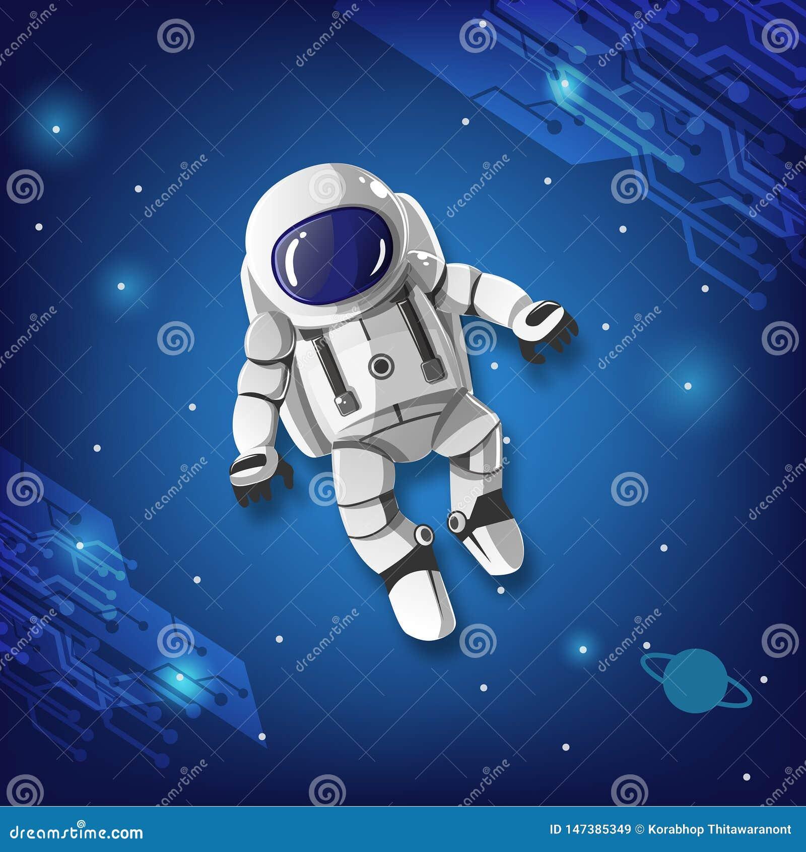 D astronaute de garçon vol spatial sans but
